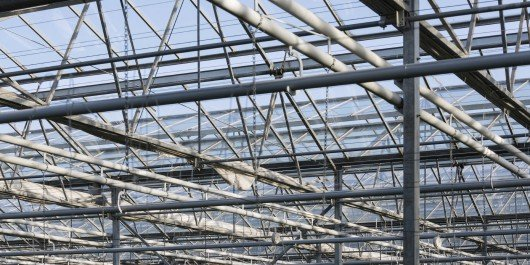 Roof and steel frame of Dutch greenhouse